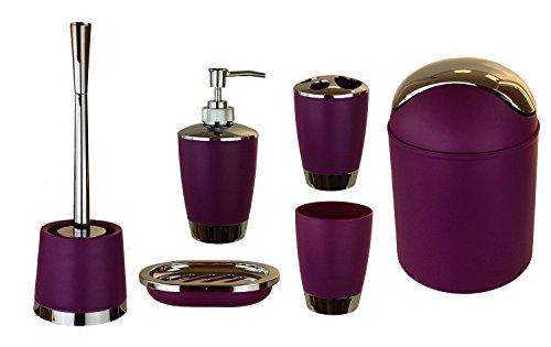GMMH 6tlg BADSET Badezimmer ZUBEHÖR Set SEIFENSPENDER Halter WC BÜRSTE BADGARNITUR (lila)