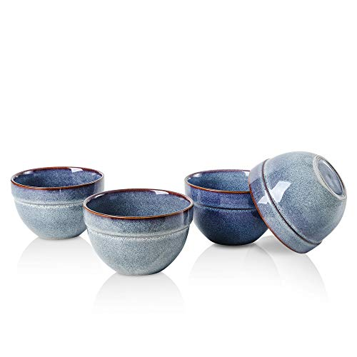 KOOV Porcelain Deep Soup Bowls Set, 26 Ounce Cereal Bowls Set For Oatmeal, Ceramic Ramen Bowls For Noodle, Rice Serving Bowl Set, Reactive Glaze Set of 4 (Artistic Blue)