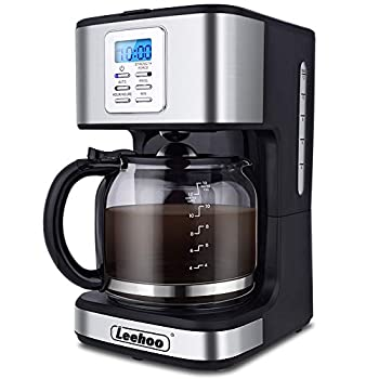 LEEHOO Drip Coffee Maker 2-12 Cup Programmable Coffee Machine with Glass Carafe&Auto Shut-off&Brew Strength Control for Home and Office,Black and Stainless Steel Finish