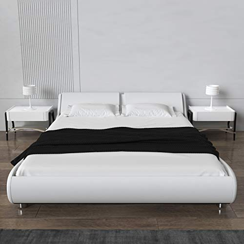 N / A Queen Platform Bed, Fabric Upholstered Full Bed Frame, Modern Mattress Foundation with headboard,Grey (White, Queen)