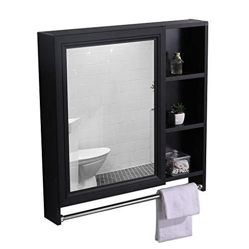 Spiegelschränke Mit Handtuchhalter Wandspiegelschrank Wasserdichter Und Feuchtigkeitsbeständiger Badezimmerspiegelschrank Toilettenschrank (Color : Black, Size : 90 * 12.5 * 70cm)