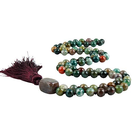TUMBEELLUWA Semi Precious Stone Wrap Bracelet for Women/Men, Meditation Beads Necklace for Unisex,Moss Agate Agate Gemstone Bracelet Bangle