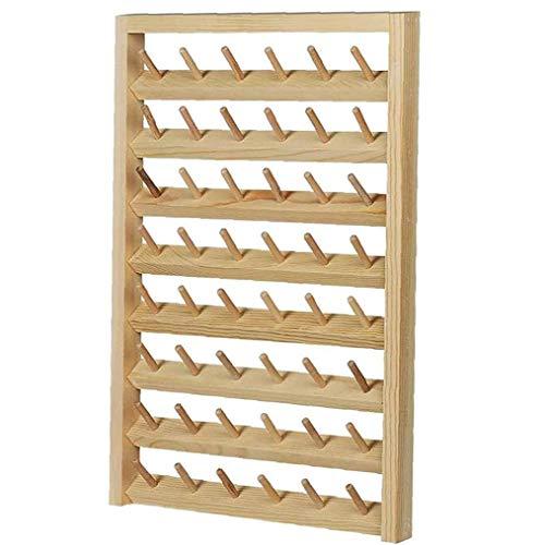 Canjerusof Thread-Rack 48-Spool Wand- Nähen Garnrollenhalters mit hängenden Haken Holz Organizer für Quilting Stickerei