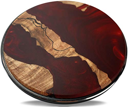 WOODPECKERY Red Epoxy Resin Wireless Charger, 10W Max Qi-Certified Fast Portable Charging Pad for iPhone 12/12Mini/12ProMax/11ProMax, Samsung Galaxy S21/S20/Note 10, AirPods Pro (No AC Adapter)