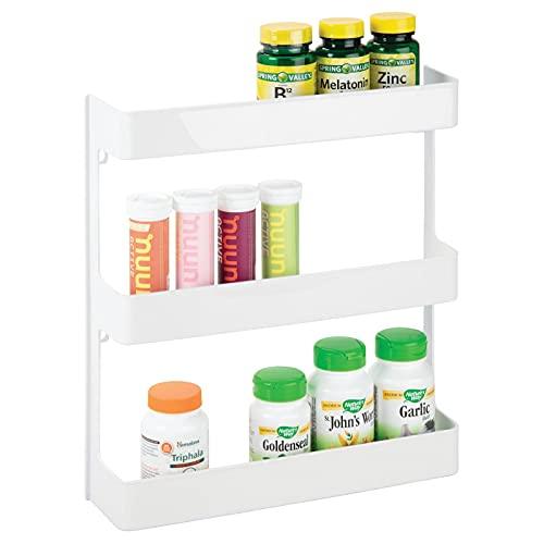 MDesign meuble pharmacie – étagère murale à trois niveaux – rangement salle de bain pour produits de santé, médicaments et compléments alimentaires –