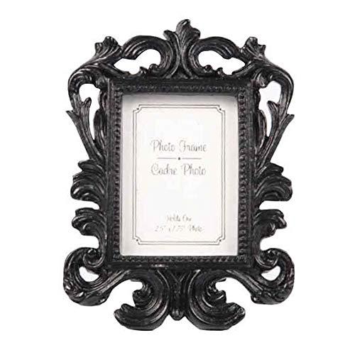 Marco de fotos para fiestas, bodas, oficinas, cumpleaños, ramas barrocas familias, adornos de flores, regalos, decoración retro en casa pequeña (negro), Negro , talla abierta