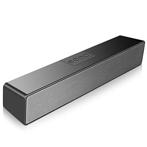 SAKOBS PC Soundbar, 20 W Bluetooth 5.0 Lautsprecher für PC Laptop TV Geräte,Tragbare Computer Lautsprecher mit 16 Stunden Spielzeit,Stereo Sound,Mikrofon,3.5mm Aux Input&TF