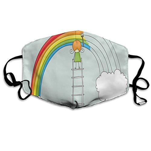 Doodle Van Een Meisje Op Ladder Schilderen Regenboog Met Wolken Op Bleke Toned Achtergrondafdrukken Veiligheid Mond Cover voor Volwassen