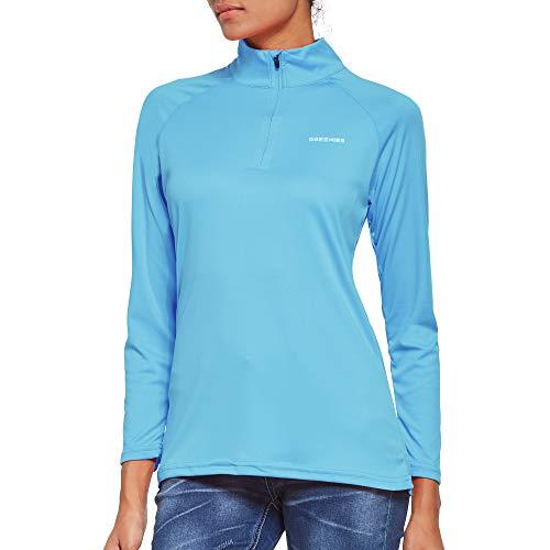 Ogeenier T-Shirt à Manches Longues pour Femme Protection Solaire UPF 50+, Bleu Clair, XXL