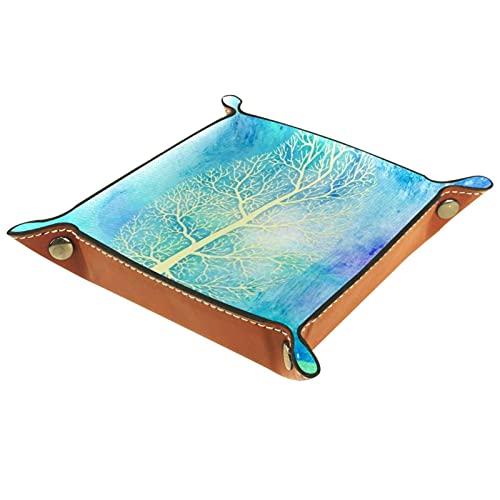rogueDIV Bandeja plegable de piel sintética para dados, soporte de dados para D&D, RPG, juegos de mesa o escritorio para guardar llaves de teléfono, árbol amarillo azul de 15,7 x 15,7 cm