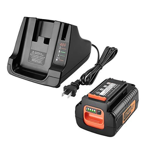 Energup 2.5Ah 40 Volt Max Replacement Black and Decker 40V Lithium Battery LBX2040 LBXR36 LBXR2036 LST540 LBX1540 LST136W + LCS40 Battery Charger for Black Decker 40V MAX Battery Fast Charger