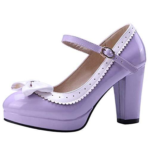 ELEEMEE Mujer Moda Bombas Zapatos Lazos Al Tobillo Mary Jane Tacon Ancho Bombas Zapatos Plateau Purple Size 36 Asian