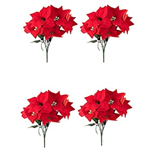 Artificial Flowers for Christmas Decorations, Poinsettia Flower (Red, 4 Pack)