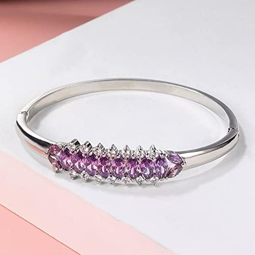 JDKAL Paar Armbänder Damen Armbänder Silber Farbe Intarsien Hellgrün Zirkonia Armband Süß 68mm Lila