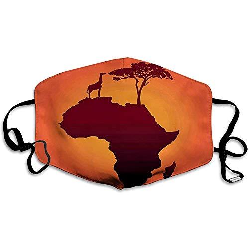 Afrikanische Safari-Karte mit Kontinentgiraffe und Baumsilhouette Savannah Wild Design, Orange Brown