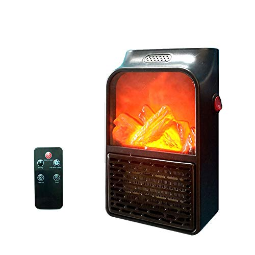 Mini Electric Space Heater Handy Plug In Space Heater 900W with Touch Display Screen and Fireplace Flame Effect with Remote Control