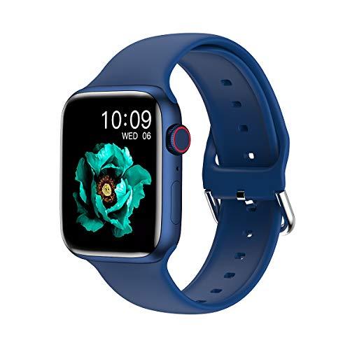 IWO W66 Migliore Orologio Intelligente 2021 Bluetooth Chiamata Smart Watch Uomo MS. Caricabatterie Wireless da 1,69 Pollici Dial Personalizzato MingYuChangHu (Color : Blue)
