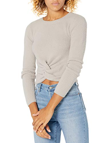 The Drop Women's Eloise Long Sleeve Twist Front Cozy Cropped Sweater