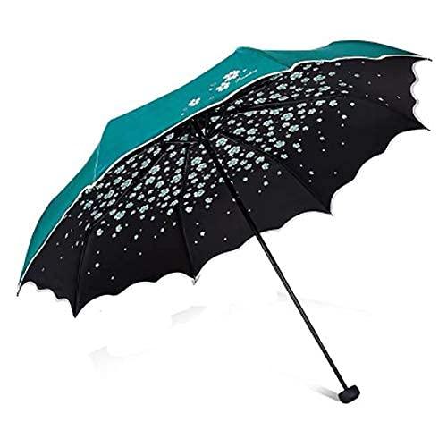 Sombrilla con protección UV, protección solar, paraguas flash, paraguas de vinilo, paraguas portátil para mujer, verde,