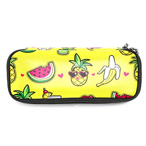 Estuche de piel para lápices de sandía, plátano, con doble cremallera, bolsa de papelería, bolsa de almacenamiento para niños y niñas