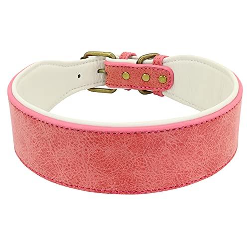 ANGSUANG Collar de Cuero de Cuero Personalizado Collar Ancho Acolchado Mascota IDENTIFICACIÓN Collares Gratis (Color : Blank Pink, Size : L)