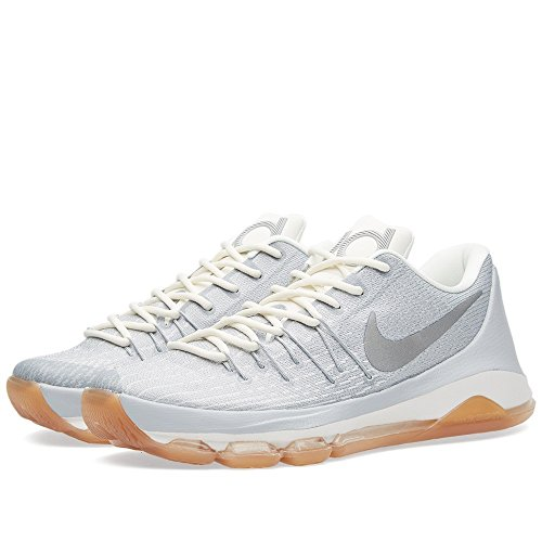 Nike Herren KD 8 Basketballschuhe, Grau/Versilbert/Weiß (Wolf Grey/Mtllc Slvr-Sl-Weiß), 45.5 EU