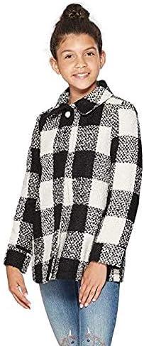 Cat & Jack - Girls' Plaid Faux Wool Jacket (Black, XSmall)