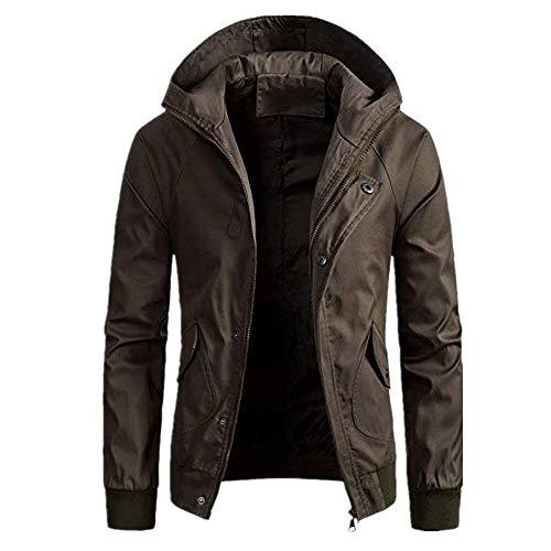 Gamlifing Herrenjacke mit Kapuze Winddicht Lässige Sportbekleidung Mantel Draußen Hoodies Sportjacke mit Kapuze Jacken Herren Arbeitskleidung Erwachsene Britische Harrington Jacke Mantel Bomber