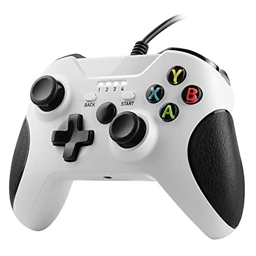 Zexrow Mando Xbox One con Cable, Gamepad con Cable USB, Con Función de Vibración Dual, Diseño Ergonómico, Compatible con Xbox One / X / S / Elite y Windows7/8/10(Blanco)