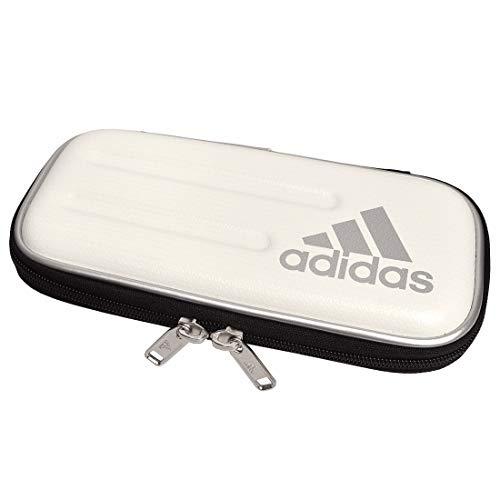 [アディダス] adidas 筆箱 セミハード ペンケース 子供 キッズ 小学生 男の子 ハードケース 筆記用具 文房具 大容量 中学生 多機能 合皮 ロゴ スポーツブランド (WH/白銀)