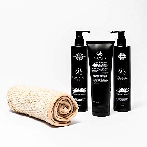 Royal Locks-Wash Day Set | Clean Curls Shampoo + Curl Quench Conditioner with Argan Oil (10 Oz ea.) Leave-In Conditioner with Keravis (8 Oz) & Microfiber Towel-For Curly, Coily & Wavy Hair (Pack of 4)