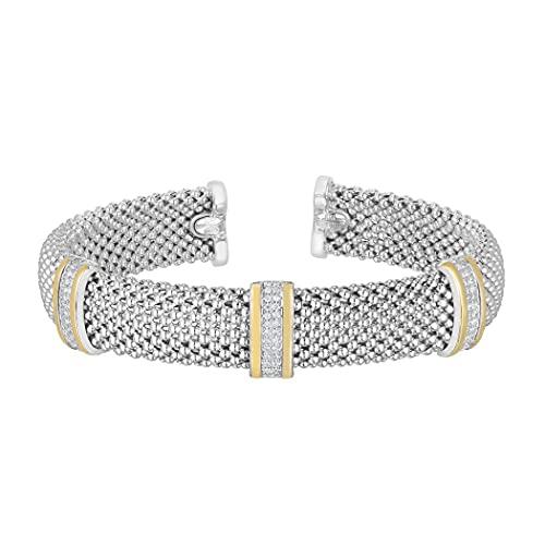 Brazalete apilable de plata de ley 925 de 18 quilates y corte brillante/texturizado con palomitas de maíz, joyería para regalo para mujeres