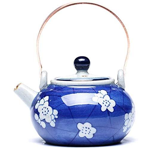 ZHANG Porcelana Azul Y Blanca Antigua Pintada A Mano Tetera Cobre Bonsai Galleta De Hielo Botella De Agua Fría Juegos De Té De Kung Fu,A