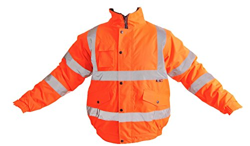 SuperTouch - Giacca di sicurezza da lavoro unisex, ad alta visibilità, da uomo, taglia S-4XL, colore: Giallo arancione Arancione M
