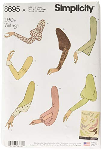 Simplicity Vintage US8695A Misses' Vintage Set Of Sleeves Tops/Westen/Jkts/Mäntel