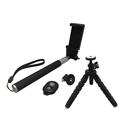 ultron selfie Kit, Selfie Zubehör Set bestehend aus Teleskoparm, Smarthone-Halterung, Bluetooth-Auslöser, GoPro Adapter, Tripod,
