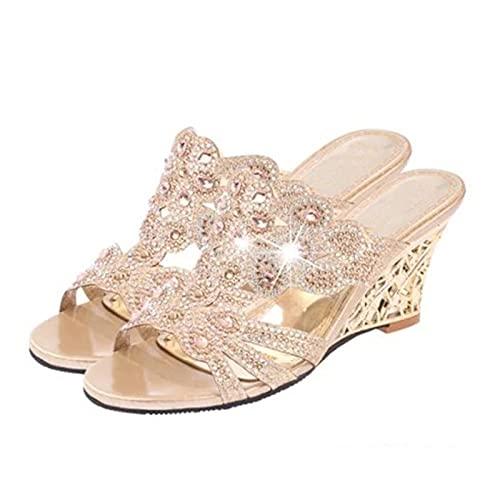 DZQQ Sandalias de Mujer 2021 Sandalias de tacón Alto de Moda de Verano Zapatos Casuales de Cristal para Mujer Zapatillas de tacón Alto con Diamantes de imitación