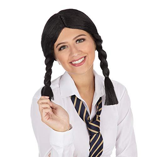 Bristol Novelty BW040 schoolmeisjespruik, zwart, eenheidsmaat