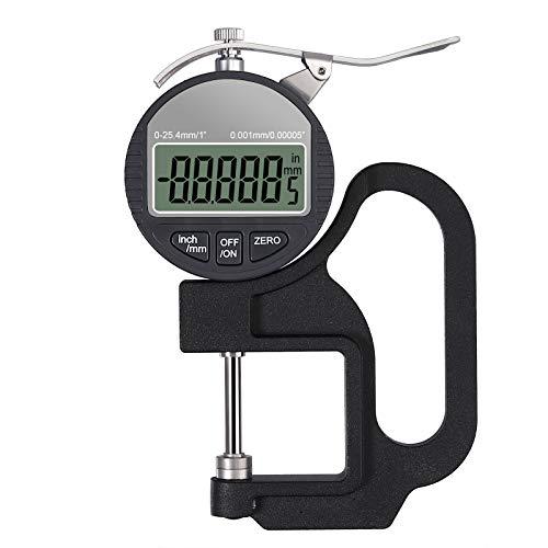 Tragbares digitales Dickenmessgerät 0-25,4 mm Messbereich 0,001/0,00005 '' elektronischer Mikrometer Zoll/metrisch elektronischer Prozent-Dickenmessgerät mit präziser LCD-Anzeige