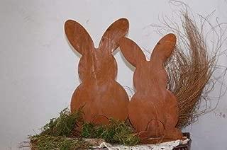 2 Edelrost Mini Hasen 10cm auf Bodenplatte Ostern Gartendekoration Terrasse