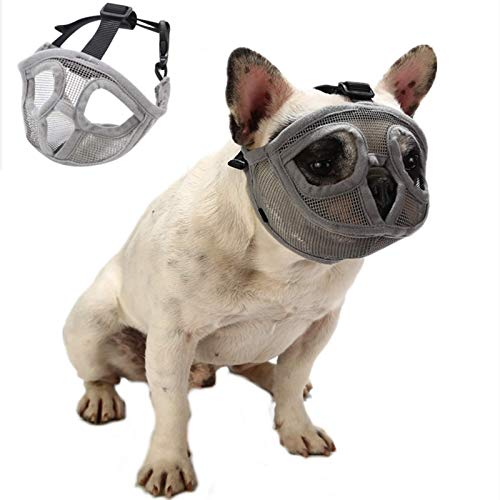 Doglay Short Snout Dog Muzzles - French Bulldog Mask Adjustable Soft Breathable Mesh Best to Prevent Biting, Chewing and Barking (M, Gray)