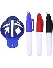 BESPORTBLE 4 Piezas de Juego de Dibujo de Línea de Golf Herramienta de Dibujo de Línea de Marcador de Bola 3 Bolígrafos de Color Plantilla de Forro - Azul