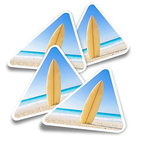 Pegatinas triangulares de vinilo (juego de 4) – Surfboard Surf Surfer Fun Calcomanías para portátiles, tabletas, equipajes, reservas, neveras #2466