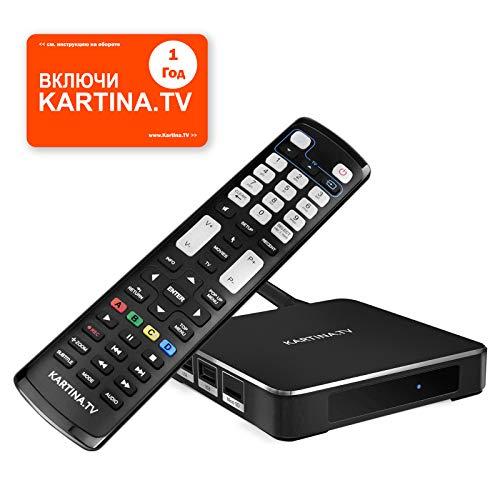 Kartina X IPTV Box + 1 Год Абонемент Картина ТВ - IPTV Receiver für Kartina.TV - Russisches Fernsehen - 4k Ultra HD 1080p 4Kp603D HEVC H.265 HDMI Micro SD USB Ethernet - Linux + Android TV-175K