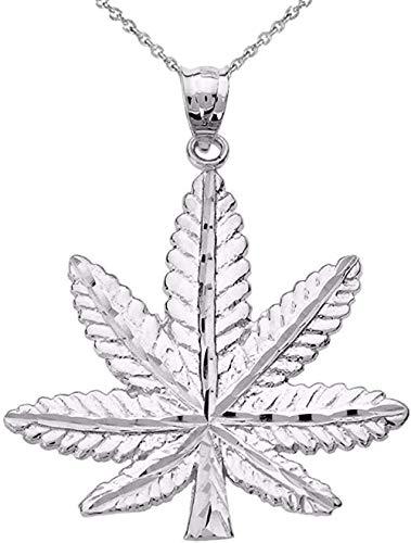 Collar con colgante de hoja de marihuana con encanto de cannabis en plata de ley fina