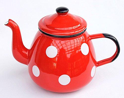 Theepot 582AB geëmailleerd 14 cm waterkan 850 ml. Koffiepot email nostalgie Rood met witte stippen
