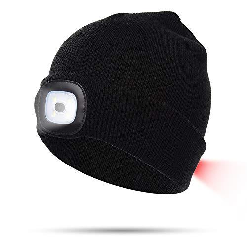 INHDBOX LED Mütze Kappe, Strickmütze mit USB Nachladbare Licht, Beleuchtung und blinkende Warnungs-Arten 8 LED, einfache Installation, Schwarz, L