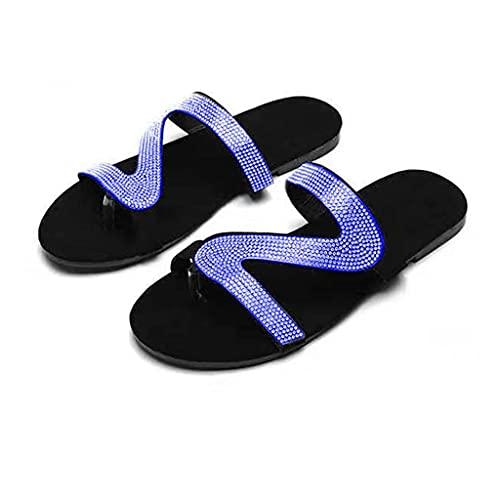 Sandalias Planas Mujer Cristal Chanclas Verano Zapatos Playa, Sandalias Zapatilla Verano Slip-On Flat Zapatillas Bohemia, Sandalias de Punta Abierta al Aire Libre