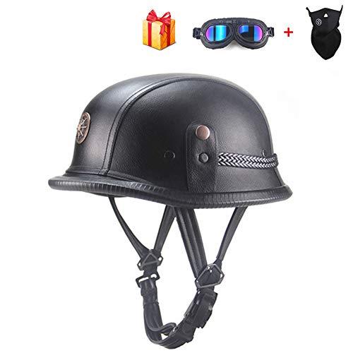 Braveking Half-Helmet con Gafas Y Bufanda Casco Moto Verano Casco Jet 1/2...