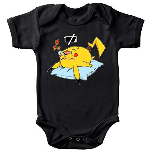 Okiwoki Body bébé Manches Courtes Noir Parodie Pokémon - Pikachu - Batterie déchargée :(Body bébé de qualité supérieure de Taille 6 Mois - imprimé en France)